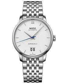 Mido Men's Swiss Automatic Baroncelli III Stainless Steel Bracelet Watch 40mm