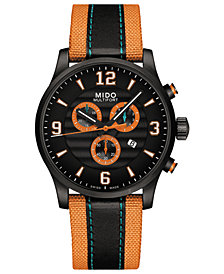 Mido Men's Swiss Chronograph Multifort Black Leather & Orange Fabric Strap Watch 42mm
