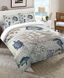 Laural Home Seaside Postcard King Comforter