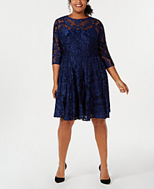 Betsy & Adam Plus Size Burnout Damask Fit & Flare Dress