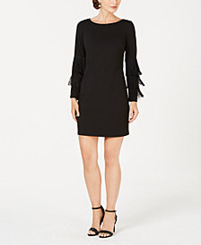 Adrianna Papell Fringe-Sleeve Shift Dress