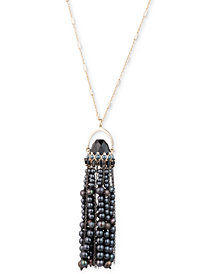 "Carolee Gold-Tone Crystal, Stone & Freshwater Pearl (3-6mm) Pendulum Tassel 36"" Pendant Necklace"
