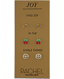 RACHEL Rachel Roy Gold-Tone 3-Pc. Set Multicolor Pavé Joy Stud Earrings
