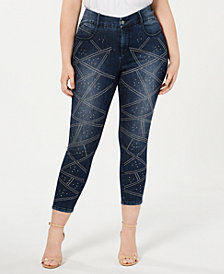 YSJ Plus Size Studded Ankle Jeans