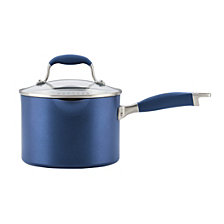 Anolon Advanced Indigo Hard-Anodized Nonstick 3-qt Covered Straining Saucepan with Pour Spout