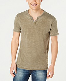 Men's Burnout Button Notch Short Sleeve Tshirt