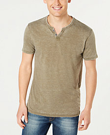 Lucky Brand Men's Burnout Button Notch Short Sleeve Tshirt