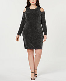MICHAEL Michael Kors Plus Size Metallic Cold-Shoulder Dress