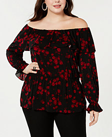 MICHAEL Michael Kors Plus Size Rose-Print Peasant Top