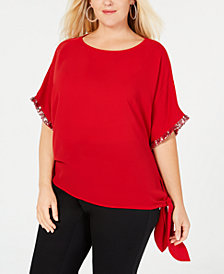 MICHAEL Michael Kors Plus Size Sequin-Embellished Top
