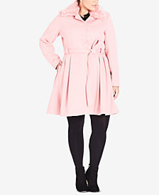 City Chic Trendy Plus Size Faux-Fur-Collar Coat