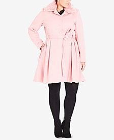 City Chic Trendy Plus Size Faux-Fur-Collar Coat