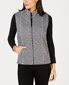 Karen Scott Petite Houndstooth Puffer Vest, Created for Macy's