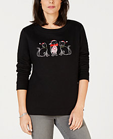 Karen Scott Petite Kitty Holiday Sweatshirt, Created for Macy's
