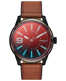 Men's Rasp NSBB Brown Leather Strap Watch 46mm