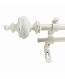 Montevilla 5/8-Inch Urn Double Telescoping Curtain Rod Set, 48 to 86-Inch, Distressed White
