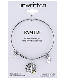 Silver-Tone Tree Adjustable Bangle Bracelet in Stainless Steel  with Silver Plated Charms