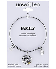 Unwritten Silver-Tone Tree Adjustable Bangle Bracelet