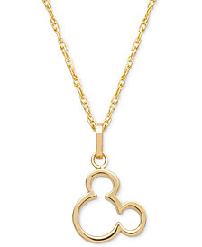 "Disney© Children's Mickey Mouse Silhouette 15"" Pendant Necklace in 14k Gold"