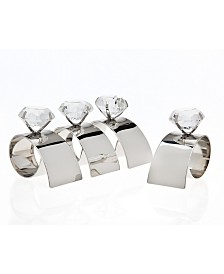 Godinger Arch Diamond Napkin Rings, Set of 4