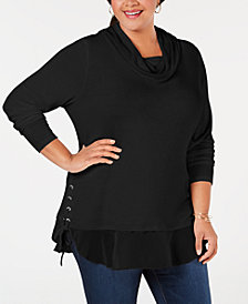Belle by Belldini Plus Size Lace-Up Cowl-Neck Sweater