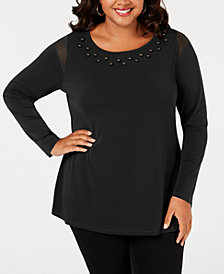 Belldini Plus Size Studded Mesh-Inset Top
