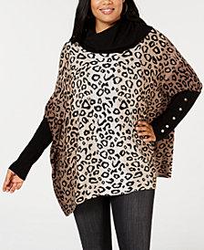 Joseph A Plus Size Printed Cowl-Neck Poncho Sweater