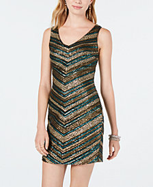 As U Wish Juniors' Chevron Sequin Bodycon Dress