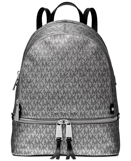 1bfa44ced78f Michael Kors Metallic Signature Rhea Zip Backpack   Reviews ...