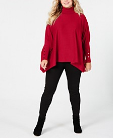 Plus Size Turtleneck Poncho Sweater, Created for Macy's