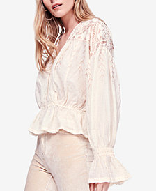 Free People Counting Stars Cotton Metallic Poet Blouse