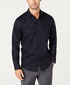Tasso Elba Men's Textured Floral-Print Shirt, Created for Macy's