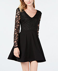 B Darlin Juniors' Lace Long-Sleeve Fit & Flare Dress