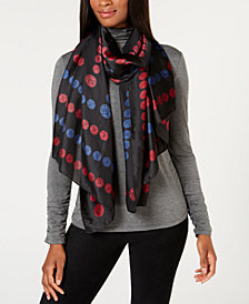 DKNY Subway Token Logo Oversized Satin Scarf, Created for Macy's