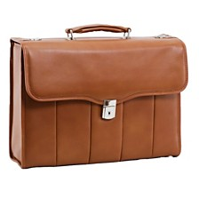 McKlein NORTH PARK, Executive Laptop Briefcase, Full Grain Cashmere Napa Leather, Brown