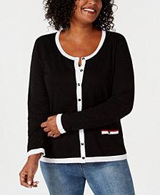 Karen Scott Plus Size Striped Cardigan, Created for Macy's