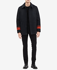 Calvin Klein Mens Striped Car Coat