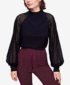 Free People Juniors' Sweetest Thing Mixed-Material Top