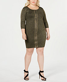 Say What? Trendy Plus Size Zipper Front Sweater Dress