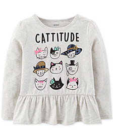Carter's Toddler Girls Graphic-Print Peplum Cotton T-Shirt