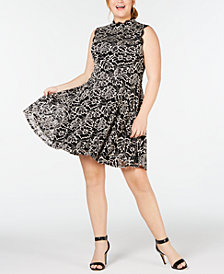 City Studios Trendy Plus Size Lace A-Line Dress