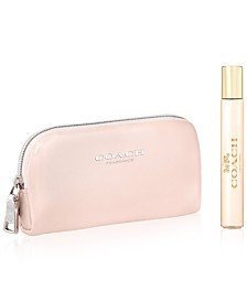 Receive a complimentary pink makeup pouch with any large spray purchase from the COACH Women's fragrance collection