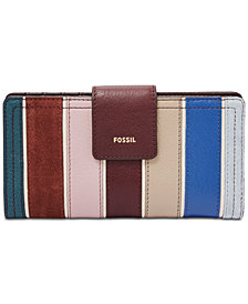 Fossil RFID Logan Leather & Suede Striped Tab Wallet