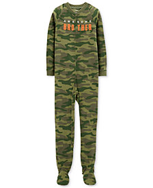 Carter's Little & Big Boys Awesome Brother Camo-Print Footed Pajamas