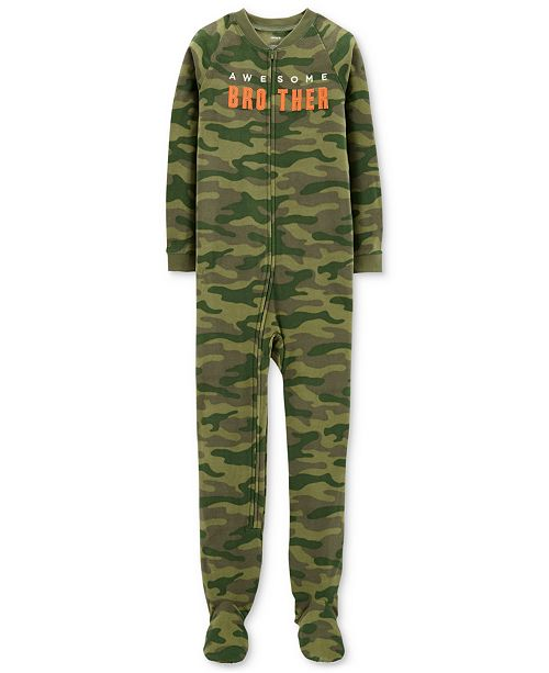 Carter s Little   Big Boys Awesome Brother Camo-Print Footed Pajamas ... ad0699ab9