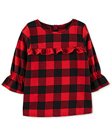 Carter's Little & Big Girls Buffalo-Check Cotton Top