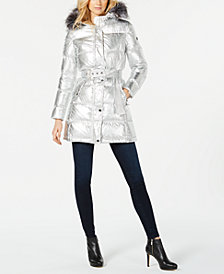 MICHAEL Michael Kors Faux-Fur-Trim Metallic Puffer Coat