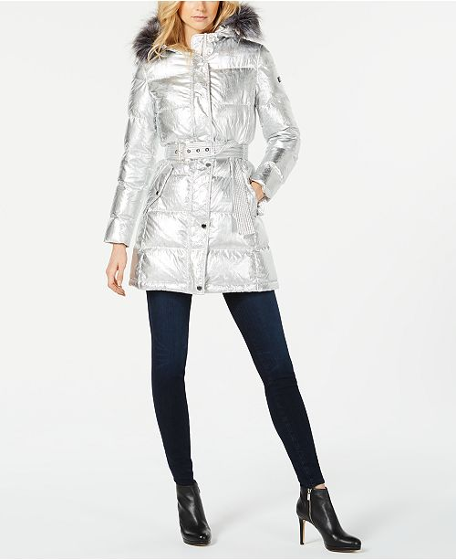 1cc55125aa5 Michael Kors Faux-Fur-Trim Metallic Puffer Coat   Reviews - Coats ...