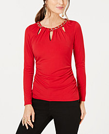 Thalia Sodi Chain-Link Cutout Top, Created for Macy's