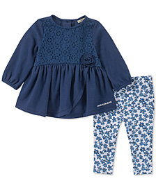 Calvin Klein Baby Girls 2-Pc. Printed Tunic & Leggings Set